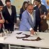 Başkan Can, kahve ile resim yaptı