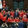 Cumhurbaşkanı Erdoğan milli güreşçilerimizi kabul etti
